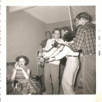 March 1955  Eddie & Hank cochran & Dick Miller house   March 1955 Playing his Gibson L4 model